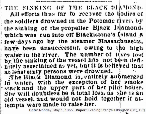 Sinking of the black diamond Evening Star 5 -1- 1865