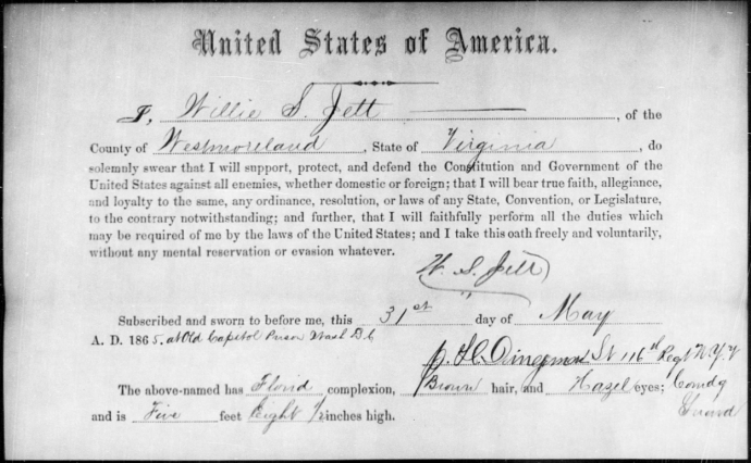 Willie Jett's Oath of Allegiance NARA