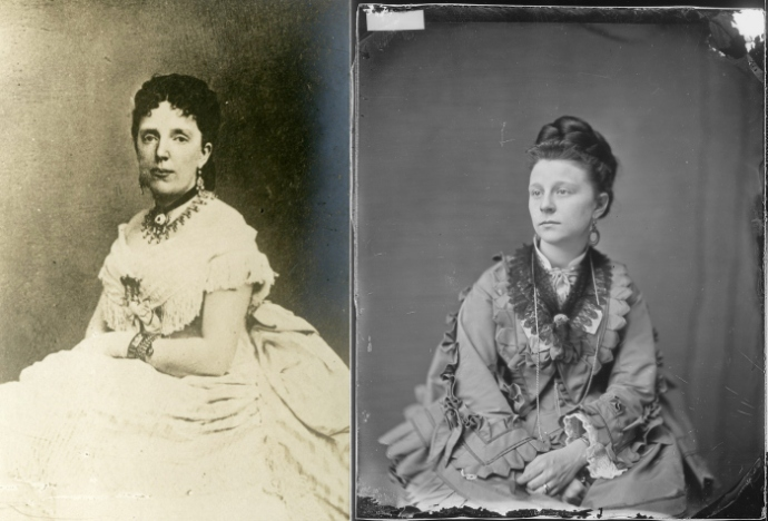 The two Clara Harrises. On left, the verified image. On right, the likely misidentified image. Left: Abraham Lincoln Library and Museum, Lincoln Memorial University. Right: National Archives and Records Administration.