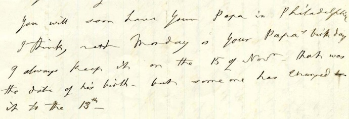 MAB to Edwina 11-9-1875 Taper Re Edwin's birthdate