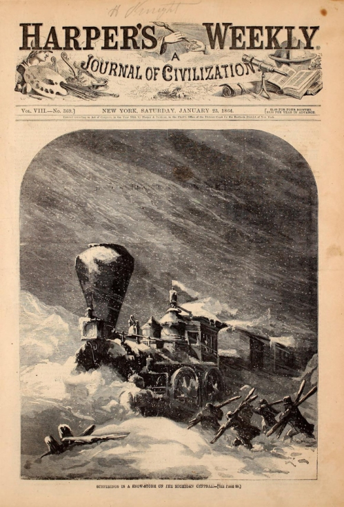 The cover of the January 23, 1864 edition of Harper's Weekly shows the condition of railroads across the Midwest.