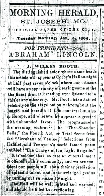 John Wilkes Booth will perfom with Lincoln ad 1-5-1864 St Joseph Morning Herald