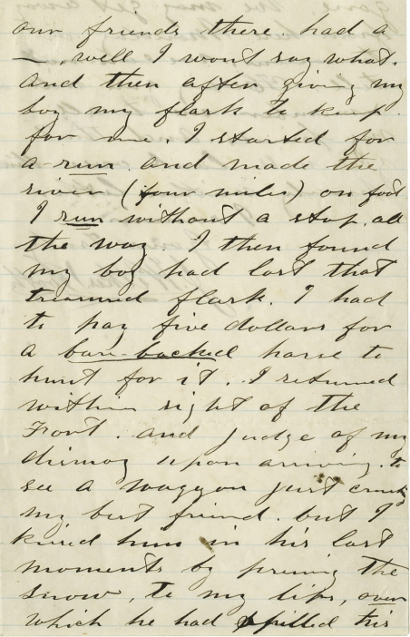 Portion of a John Wilkes Booth letter in which he recounts the loss of his flask in the snow.