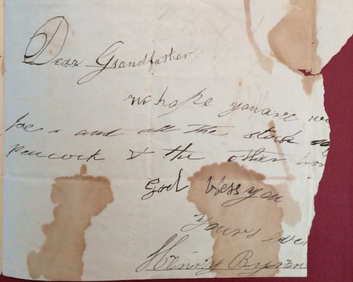 Henry Byron's note10-26-1834 cropped