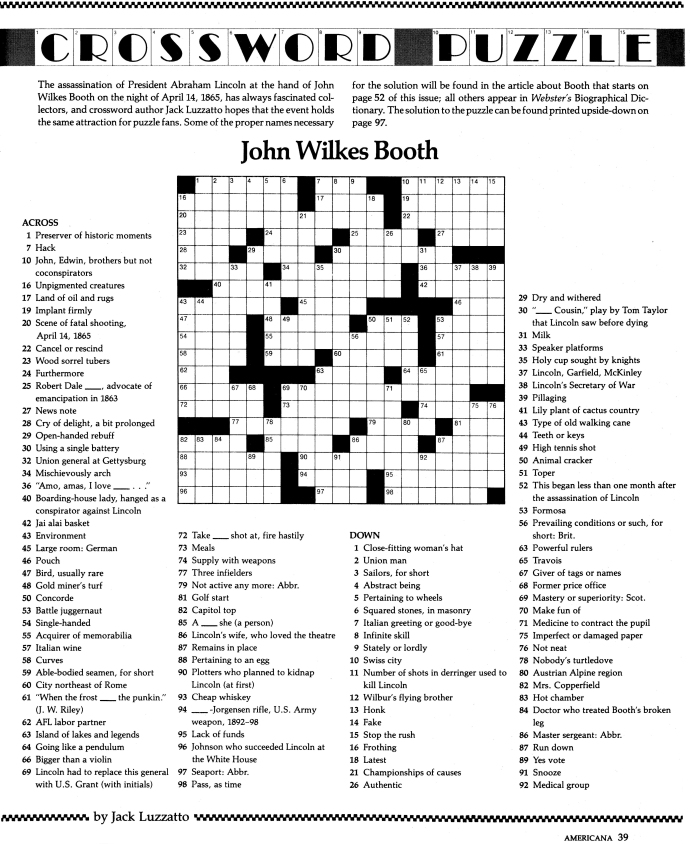 John Wilkes Booth Crossword Puzzle - Americana Magazine - April 1980