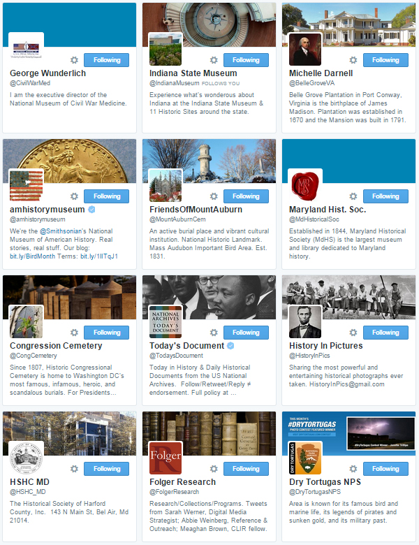 Here's a small sample of the different people/organizations I follow on Twitter.