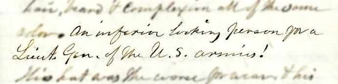 Wilbur diary describing Grant
