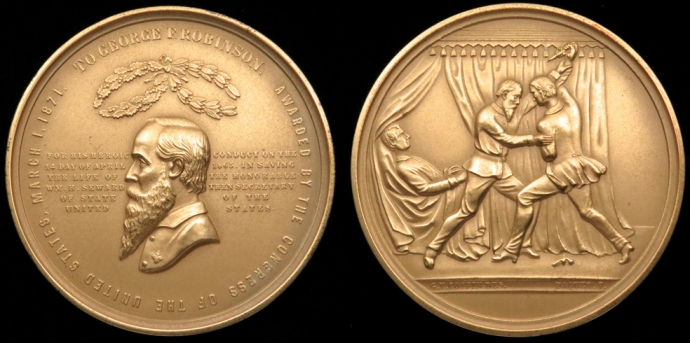 The congressional medal awarded to Pvt. George Foster Robinson for protecting Secretary William Seward.