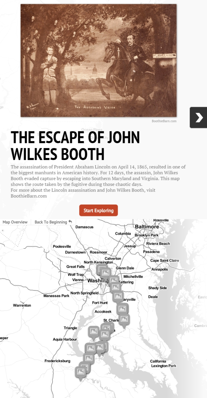 The Escape of John Wilkes Booth map image