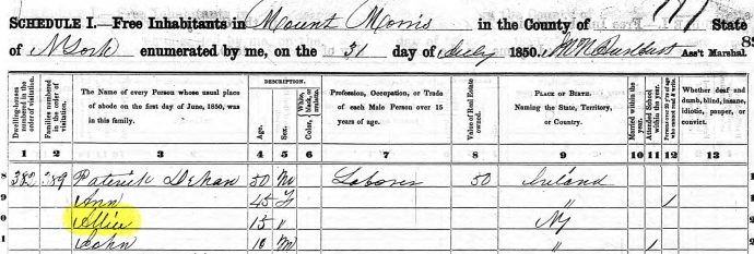 1850 Census Alice Gray