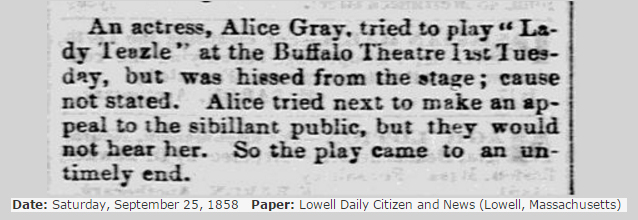 1858 Hissed from the stage Alice Gray