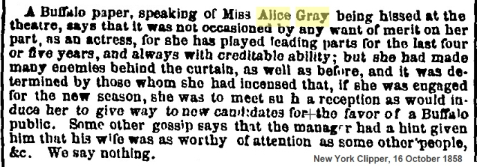 1858 reason for hiss Alice Gray