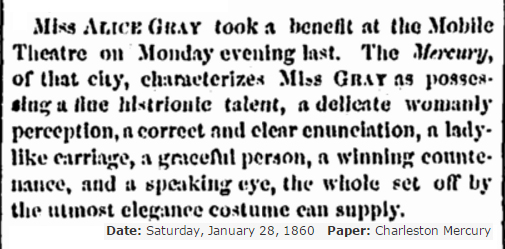 1860 Nice review Alice Gray