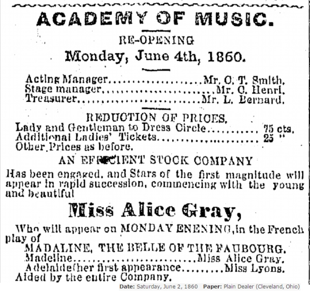 1860 Star billing Alice Gray