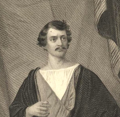 Engraving of Edward Eddy in the role of Posthumus (click to see the full image)