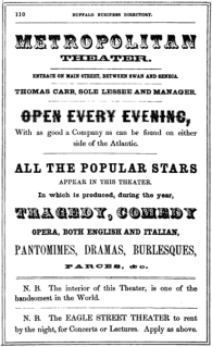 Metropolitan Theater advertisement 1855