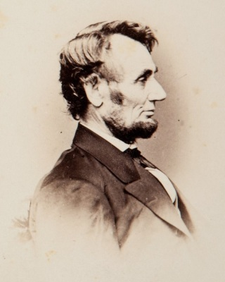 Photograph of Abraham Lincoln taken by Anthony Berger on February 9, 1864. This image was the basis for the Lincoln penny.