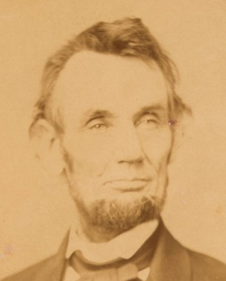 Photograph of Abraham Lincoln taken by Anthony Berger on February 9, 1864. This image appears on the current $5 bill.