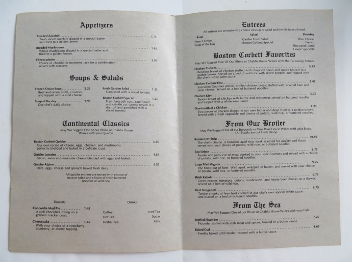 Boston Corbett Supper Club Menu 2