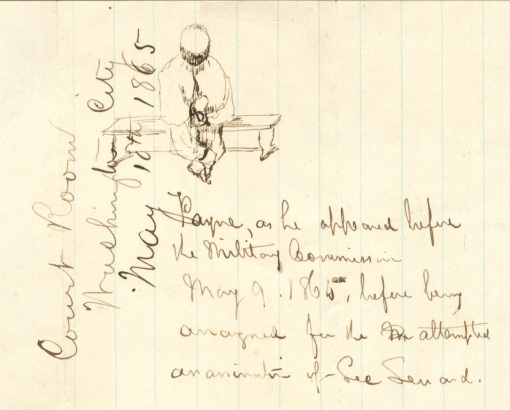 Lew Wallace sketch of Lewis Powell, 5-9-1865, Special Collections, Pelletier Library, Allegheny College, Meadville, PA